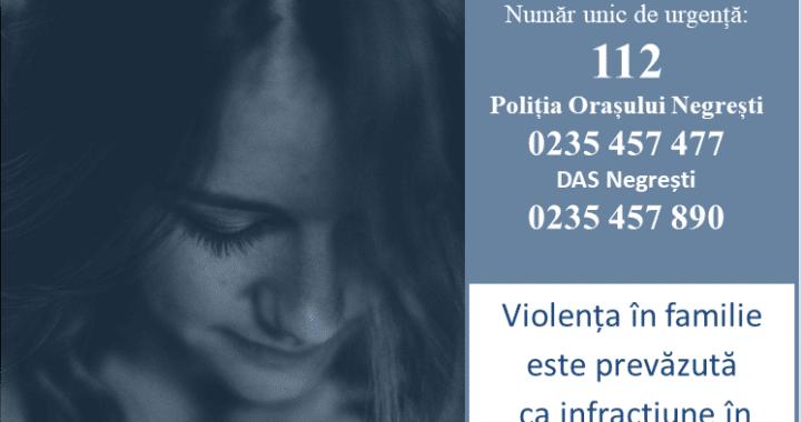 25 noiembrie 2020 - Ziua Internațională de combatere a violenței domestice